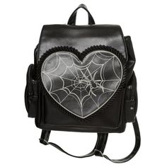 Banned Rockwell Backpack Awesome faux leather backpack from Banned! The gorgeous Rockwell bag features a heart shape flap, with a bone white spider web print and a frilled black trim, which closes usi. Faux Leather Backpack, Black Backpack, Backpack Bags, Rucksack Backpack, Gothic Accessories, Fashion Accessories, Fashion Bags, Fashion Backpack, Fashion Clothes