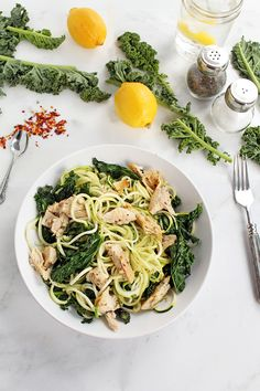 My Go-To Spiralized Diet Pasta: Baked Chicken and Kale Zucchini Pasta
