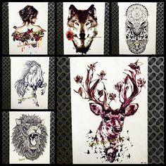 f5b4418fa2a9b Chic Flash Temporary Tattoos Moose Elk Deer Flower Arm Tatoo For Men Women  Body Art Waterproof Skull Bird Henna Tattoo Stickers