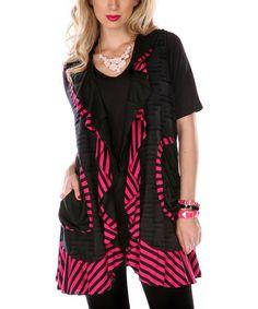 Look at this #zulilyfind! Pink & Black Stripe Ruffle Cardigan by Aster #zulilyfinds
