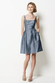 """Slate Blue"" Watters Bridesmaid Dress looks like shantung silk."