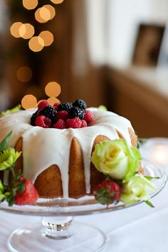 Bundt Cake with fruit in the center