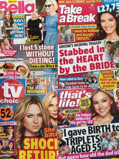 Special bundle of weekly titles.  Get your weekly fix of real life gossip, news, and TV soaps.  This bundle contains: TV Choice 30 April - 6 May, That's Life! 5 May 2016, Take a Break 5 May 2016 and Bella 3 May 2016