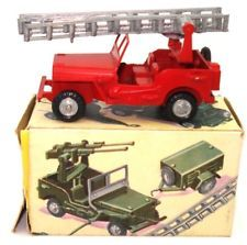 FJ  FRANCE JOUETS WILLYS JEEP POMIERS FIRE DEPT - MINT & BOXED & ULTRA RARE!