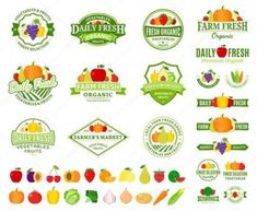 Set of fruit and vegetables logo templates. Fruit and vegetables labels with sample text. Fruits and vegetables icons for groceries, agriculture stores, packaging and advertising. Fruit Logo, Juice Logo, Vegetable Shop, Fruit Packaging, Vegetable Packaging, Fruit Cartoon, Fruits Drawing, Kebab, Organic Fruits And Vegetables