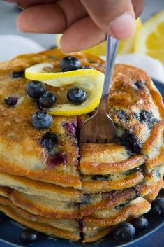 Paleo Lemon Blueberry Pancakes are gluten-free, vegan and a delicious way to wake up in the morning! Paleo Lemon Blueberry Pancakes are gluten-free, vegan and a delicious way to wake up in the morning! Gluten Free Grains, Gluten Free Recipes, Dairy Free, Grain Free, Nut Free, Diet Recipes, Vegan Recipes, Paleo Dessert, Paleo Breakfast