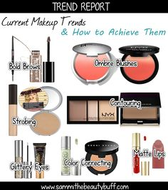 Trend Report: Current Makeup Trends & How to Achieve Them: Glittery Eyes, Strobing, Contouring, Bold Brows, Matte Lips, Color Correcting, Ombre Blush