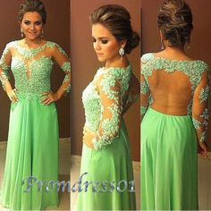 Long prom dress, 2015 elegant green lace chiffon round neck open back floor-length prom dress for teens, modest ball gown, cute evening dress, bridesmaid dress #promdress #wedding