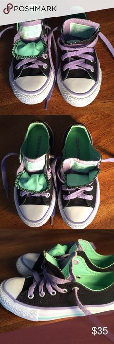 Converse All Star ⭐️ Sneakers Girls 11 Converse All Star ⭐️ Sneakers, Little Toddler girls size 11, purple black lime green, laced up the front and tye, two tongues, pictures are part of the description. Converse Shoes Sneakers