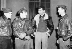 James Stewart celebrates his promotion to major by leading his bomber group on a raid over Frankfurt, Germany (January 29, 1944).