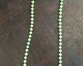 Mint green beads with gold colored seed beads hand strung on bead wire with a gold filled clasp - <3 want