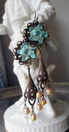 DECEMBER BLOSSOMS  vintage assemblage earrings by The French Circus, $68.00