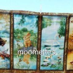 Four Seasons Fabric Panel Wee Wildlife Animal Print Bear Rabbit Deer Swan NEW