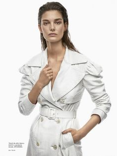 Ophelie Guillermand covers up in white Gucci python trench coat for TELVA Magazine December 2016 issue