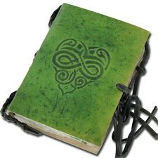 Green Renaissance Medieval Celtic Knot Book Heart Leather Diary Journal Etched