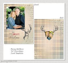 Merry Antler  5x7 Holiday Card Template by YummyDesignStudio, $3.50