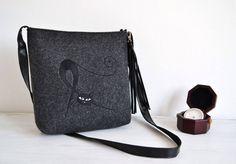 SUMMER SALE,Felt crossbody bag, Homemade, Women felt bag, Cat bag, Felt shoulder bag, Embroidery, Cat design bag by BPStudioDesign on Etsy