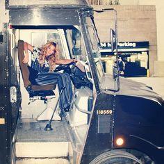 #Beyonce posing in a UPS truck #Queenbey