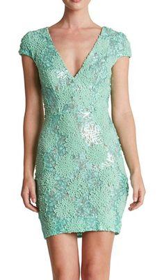 Lace mesh green dress