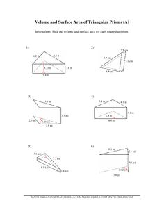 Worksheets Surface Area Triangular Prism Worksheet surface area of a triangular prism worksheet volume worksheets prismatic students are asked to determine the surface