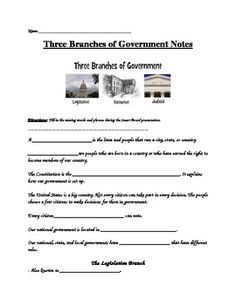 Three Branches Of Government Guided Notes And  By Becky S