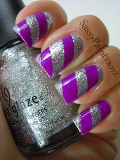 Purple & silver #nails