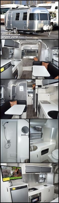 The ultra-towable 2016 AIRSTREAM SPORT 22FB Travel Trailer is a premium compact trailer that sets you free to hitch up and go, without leaving behind the comforts of home. Spacious yet fuel-efficient, the Sport 22FB is light enough to tow with an SUV, yet still packed with features including running water, a bathroom and shower, interior LED lights, a microwave and refrigerator, and even a range. Take this Airstream Sport 22FB travel trailer out and play!