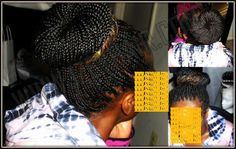 Box braids, individual braids, Solange braids, Poetic Justice braids, bun (www.izeyhair.com)