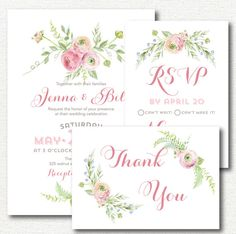 Wedding Invitation  peony ranunculus rose pink by irinisdesign
