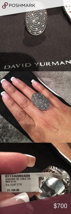 NWT David Yurman Cable Coil Ring with Diamonds 100% authentic. Brand new David Yurman Cable Coil ring with .247 carat of diamonds. Beautiful statement ring. All reasonable offers will be considered. David Yurman Jewelry Rings