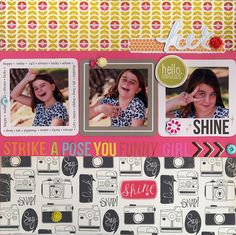 Strike a Pose - Scrapbook.com- gorgeous colorful layout made with the September Scrapbook.com Kit club September kit, A Wonderful World.