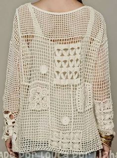 Crochet Blusas Crochet Free Form Patchwork Inspired Free People Fall Pullover - Charts and Instructions T-shirt Au Crochet, Beau Crochet, Poncho Au Crochet, Pull Crochet, Mode Crochet, Crochet Gratis, Crochet Jacket, Freeform Crochet, Crochet Woman