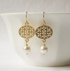 Gold Lantern Pearl Dangle Earrings by PeriniDesigns on Etsy