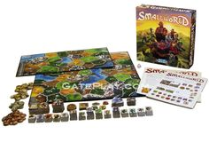 """Small World -- """"A light-hearted civilization game in which players vie for conquest & control of a board that is simply too small to accommodate them all. Picking the right combination of fantasy races & unique special powers, players must rush to expand their empires - often at the expense of weaker neighbors. Yet they must also know when to push their own over-extended civilization into decline and ride a new one to victory. """""""