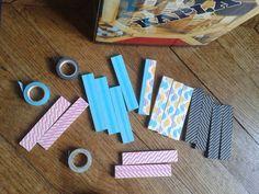 Pimp my kapla with masking tape, DIY for kids Masking Tape, Diy For Kids, Activities For Kids, Triangle, Toys, Handmade, Kindergarten, Leprechaun, Toy