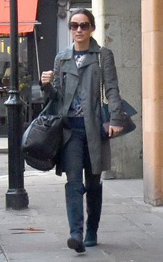 Pippa teamed her chic coat with dark skinny jeans and black over-the-knee blue suede boots