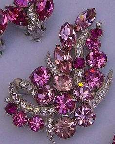 "Christmas Sale 15% Off, Vintage Eisenberg Signed, Pink Rhinestone Necklace, Earrings, Pin / Brooch Set. ""PRETTY IN PINK"". $ 345.00, ."