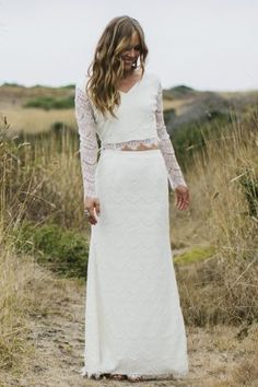 Romantic Bohemian Pieces Wedding Dress With Sleeves Simple