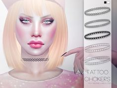 5 different tattoo chokers in 2 colors.  Found in TSR Category 'Sims 4 Female Necklaces'