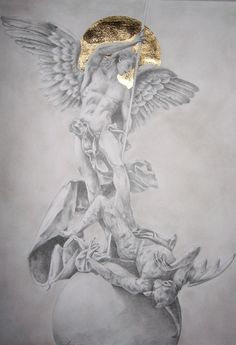 pencil on paper + gold foil (it's my first time that I used it) Please leave comments fro the original statue of Giuseppe A. Lomuscio - Città del Vaticano - Sancte Michaël Archangele, defende nos i...