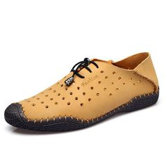 Men Lace Up Casual Leather Hollow Out Outdoor Oxfords