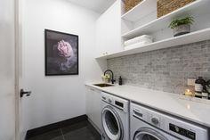 The Block 2016 - Week 7 Hall, Powder Room & Laundry Reveals Laundry Room Design, Laundry In Bathroom, Laundry Rooms, Laundry Decor, Bathroom Storage, The Block 2016, The Block Australia, Laundry Powder, Home Renovation
