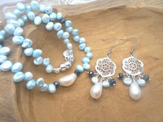 Set wrap armband & oorbellen - zoetwaterparels & barok parels