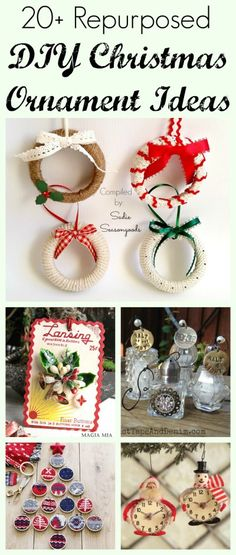 Want some DIY inspiration for your Christmas tree? This collection of 20+ repurposed and upcycled ornament project ideas will light your creative fire! From mason jar lids, to skeleton keys...to vintage button cards and broken jewelry...to puzzle pieces and ribbon spools. Amazing ideas, all in one post by #SadieSeasongoods / www.sadieseasongoods.com