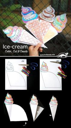 Color, Cut & Create Ice-cream craft for kids