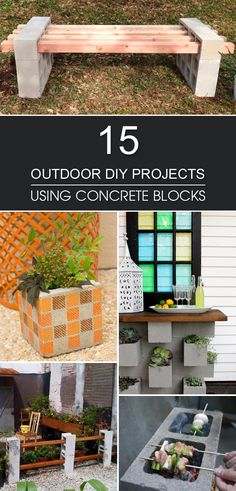15 Awesome Outdoor DIY Projects Using Concrete Blocks Check out these 15 cinder block DIY projects to update your outdoor living space without breaking the bank. Diy Garden Seating, Diy Garden Bed, Diy Garden Projects, Outdoor Projects, Garden Stairs, Planter Garden, Project Projects, Planter Ideas, Easy Garden