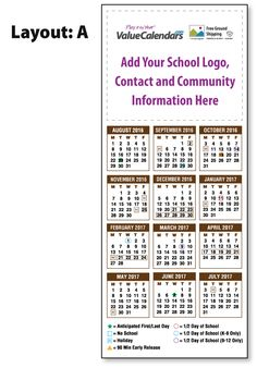 2016 2017 laminated large magnetic school schedule calendars