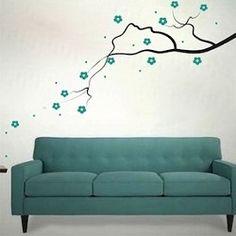 Elegant Flower Branch Wall Decal