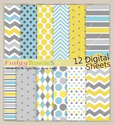 Digital paper pack 12x12 Kids party Colour by fudgybrownies, $4.20