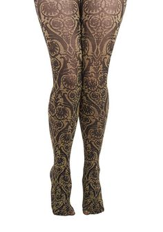 Ornate Opulence Tights. Your glow tonight is underscored by these baroque tights! #gold #prom #modcloth